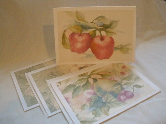 Notecard Set with 4 Fruit and Flower 5x7 Any Occasion Greeting Cards Made from Upcycled Wallpaper
