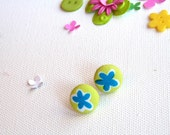 Lilly Petite Button Earrings Pop Chartreuse with Blue Flowers