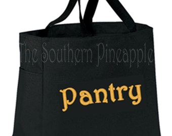 FUN TOTE Eco Friendly Embroidered Reusable Grocery Bag PANTRY