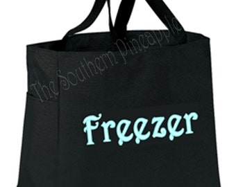 FUN TOTE Eco Friendly Embroidered Reusable Grocery Bag FREEZER