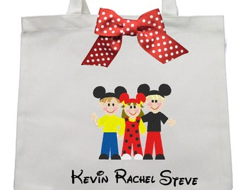 CANVAS TOTE 2 Boys and One Girl  With Mouse Ears  Personalized FREE