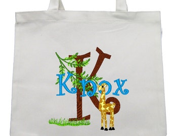 CANVAS TOTE  Hungry Giraffe Personalized FREE