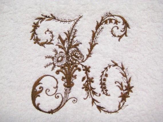 TOWEL SET Victorian Whitework Monogram