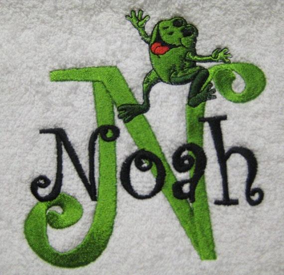 BATH TOWEL Happy Frog Personalized FREE