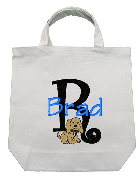 CANVAS TOTE Doggy  Personalized FREE