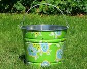 Lime Church Flowers Galvanized Beach Bucket