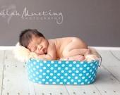 Baby Boy Photo Prop Galvanized Tub Large Oblong Aqua and White Polka Dot
