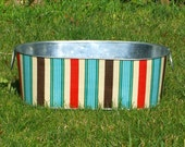 Galvanized Tub Large Oblong Corral Stripe