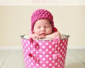Newborn Baby Girl Photo Prop Galvanized Bucket Bubble Gum Pink and White Polka Dot