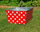 Galvanized Bin Rectangular Storage Tub Red and White Quarter Dot - I Have Been Crafted and Ready for Shipping SALE