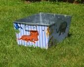 Blue Escapees Galvanized Tub Rectangular Storage Bin