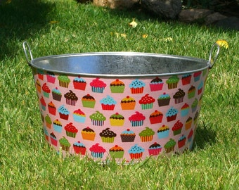 Drink and Beverage Tub Large Round Galvanized Party Tub Pink Cupcake