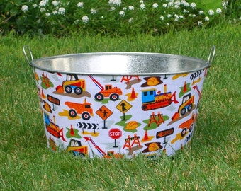 Childrens Photo Prop Large Round Galvanized Party Tub Dig It