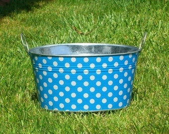 Aqua and White Polka Dot Medium Oval Galvanized Storage Tub