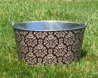 Baby Prop Large Round Galvanized Party Tub Chocolate Brown and Cream Rose Damask
