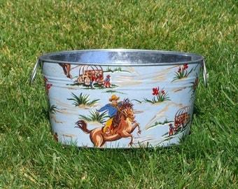 Blue Wild West Medium Oval Galvanized Tub