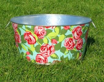 Large Round Galvanized Party Tub Pink Tumble Roses