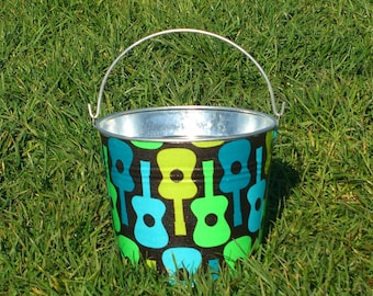 Hand Pail Galvanized Metal Lime Groovy Guitars