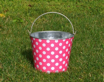 Metal Pail Galvanized Bin Bubble Gum Pink and White Polka Dot - Easter Egg Basket