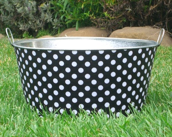 Black and White Polka Dots Large Round Party Tub