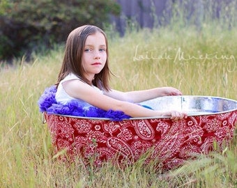 Jumbo Oblong Galvanized Wash Tub Childrens Photo Prop - You Choose The Print
