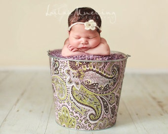 Infant Baby Photography Prop Galvanized Bucket Spring Paisley