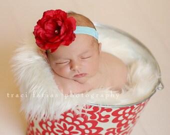 Newborn Baby Girl Photo Prop Galvanized Bucket Cherry Wallflower