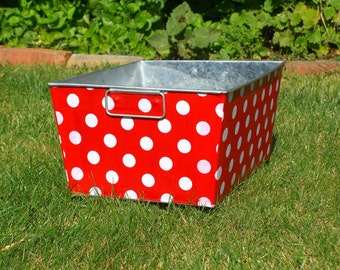 Galvanized Bin Rectangular Storage Tub Red and White Quarter Dot