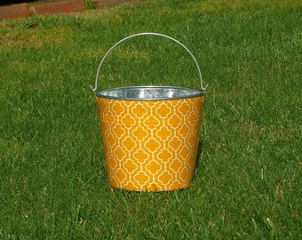 Yellow Metro Tiles Galvanized Pail - Great Easter Egg Hunt Basket
