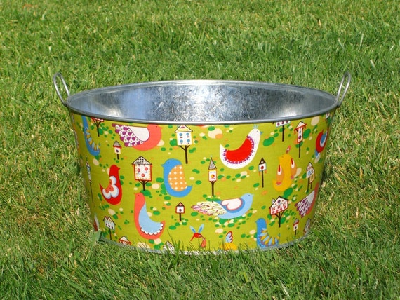 Large Wash Tub : Wash Tub Large Round Galvanized Party Tub Green by BroddersTubs