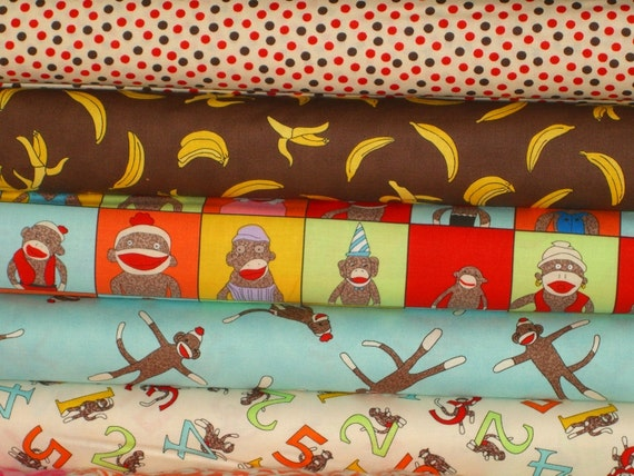 Five Funky Monkeys Half Yard Fabric Bundle By Erin Michaels For Moda 2.5 Yards Total