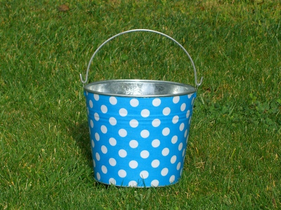 Sand Pail Galvanized Metal Aqua Blue and White Polka Dot