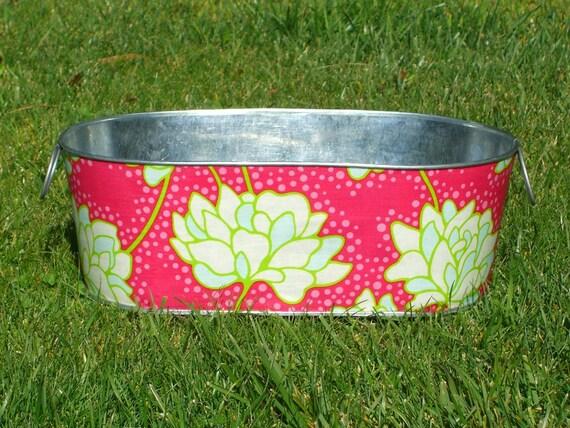 Metal Bin Magenta Rose Peonies Large Oblong Galvanized Tub