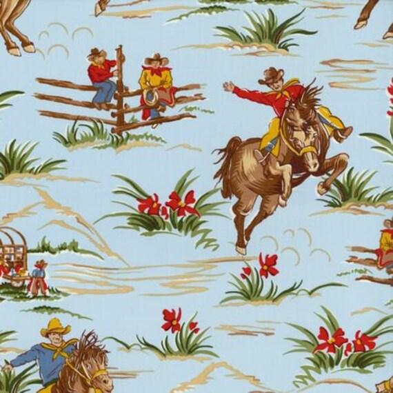 Retro Blue Wild West Fabric by Robert Kaufman BARN DANDY 1 Yard
