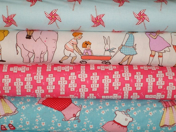 Children at play 1 2 yard fabric bundle by sarah jane for for Childrens fabric bundles