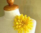Chrysanthemum in Yellow Shades - Felt Flower Brooch -- Hand felted wool
