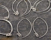 handmade sterling silver long earwires - inverted v (wishbone) shape - five pairs