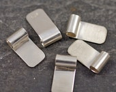 handmade sterling silver tube top bails - medium - set of five