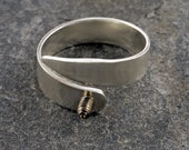 sterling silver adjustable interchangeable screw top ring - ring toppers - M/L