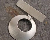 Handmade sterling silver toggle clasp brushed texture