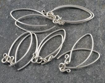 handmade sterling silver earwires - mini- v (wishbone) shape - five pairs