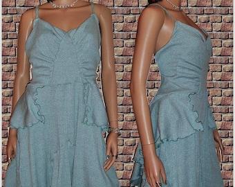 Blue Knit flounce dress