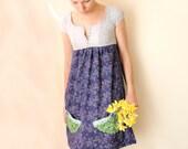 SALE 30% cap sleeve dress navy blue floral dress small