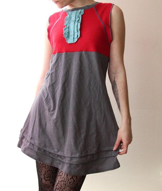 refashioned red and gray with bib stretch tshirt dress