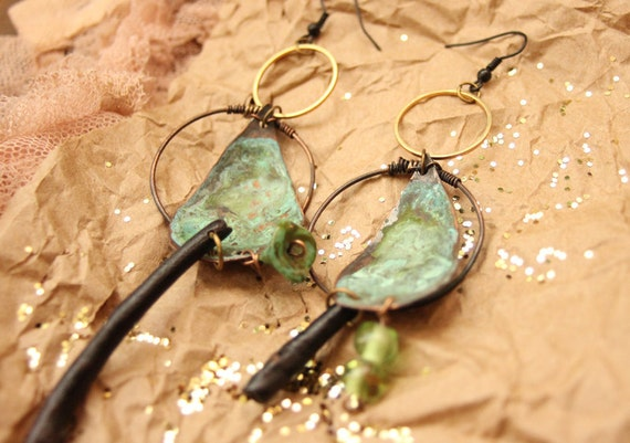bohemian copper loop oxidized and stamped handmade gypsy earrings