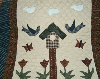 Birdhouse and Tulips Wall Hanging