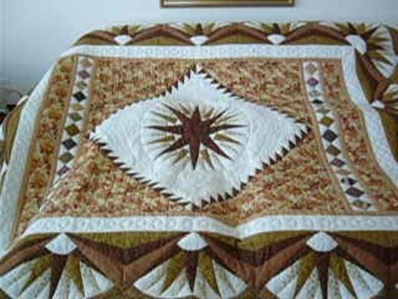 Amish Pattern, Handmade, Handstitched -King or Queen Size -Mariner Star with Stars in Common Quilt