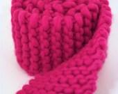 Hot Pink Chunky Knit Scarflette