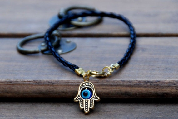 Black string leather kabbalah bracelet evil eye, Kabbalah Madonna hamsa