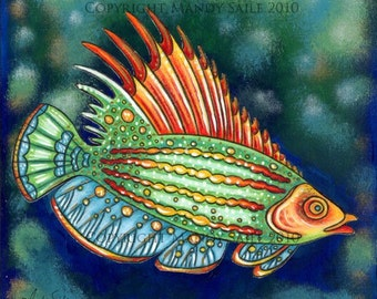 """Funky Fish 3 - an 8 x 10"""" ART PRINT of a funky unique & whimscial red, green and bright blue fish swimming in the murky depths of a blue sea"""